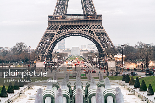 Formal garden in front of Eiffel Tower at city - p1166m1545442 by Cavan Social