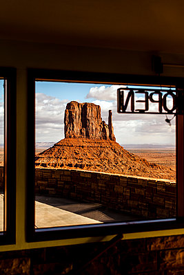 Monument Valley seen from the visitor center's windows at Monument Valley - p1094m1209070 by Patrick Strattner