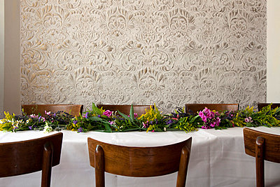 Table decorated with flowers - p388m701633 by Ulrike Leyens