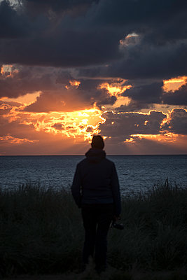 Denmark, Man at sunset on the beach - p179m2231796 by Roland Schneider