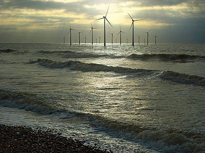 Wind turbines in ocean, Brighton, Sussex, England - p555m1454186 by Chris Clor