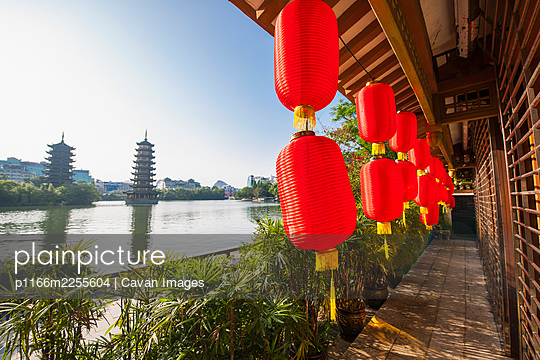 Pagoda's at the lake in the the centre of Guilin / China - p1166m2255604 by Cavan Images