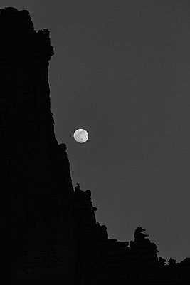 moon rises over the fisher towers sandstone formation near moab - p1166m2174263 by Cavan Images