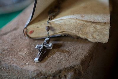 Old Bible and rosary - p4429370f by Design Pics