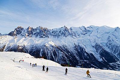 Europe, France, Haute Savoie, Rhone Alps, Chamonix Valley, Brevant ski area opposite Mont Blanc - p651m1005703 by Christian Kober