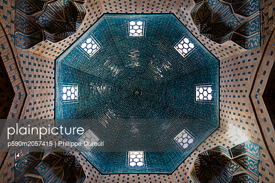Muslim mausoleum of Nazlimkhan decorated ceiling with turquoise tiles  - p590m2057415 by Philippe Dureuil
