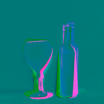 Collage, Bottle and glass - p1413m2278770 by Pupa Neumann