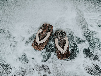 Wooden shoes on artificial snow - p1184m1441225 by brabanski