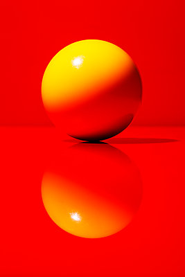 Red and yellow, Billiard ball - p1329m2244726 by T. Béhuret