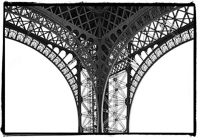 Iron work detail of corner section of Eiffel Tower  - p1072m829299 by Neville Mountford-Hoare