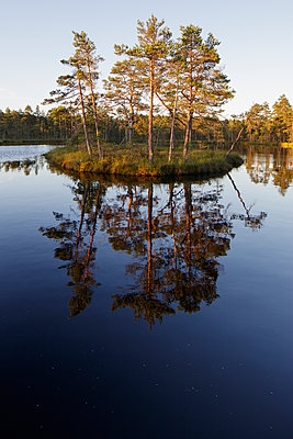 Sweden, Vastmanland, Hallefors, Knuthojdsmossen lake with small island - p352m1349392 by Gustaf Emanuelsson