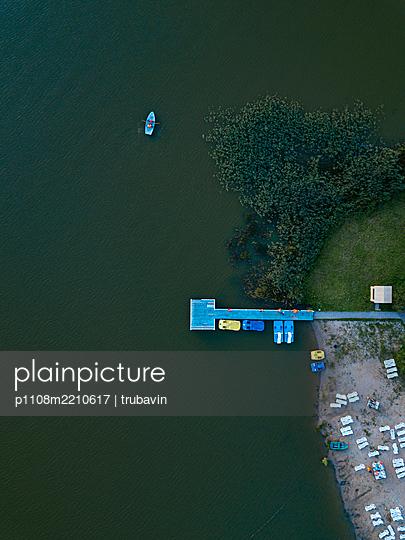 Beach, jetty, boats, drone photography - p1108m2210617 by trubavin