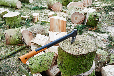 Axe stuck in a chopping block - p763m1590719 by co-o-peration