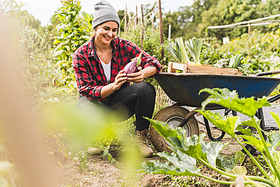 Smiling young woman holding eggplant while crouching by wheelbarrow in vegetable garden - p300m2221299 by Uwe Umstätter