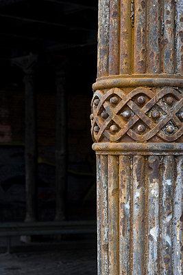 Rusty iron Column detail, Berlin. - p8552189 by G Jackson