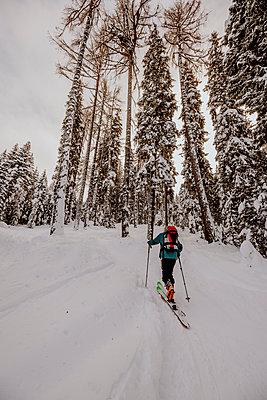 Austria, Carinthia, Villach, Ski touring on Gerlitzen mountain in winter - p300m2265084 by Daniel Waschnig Photography