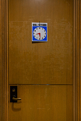 Notice on door, Will Return at 8:30 - p397m2015245 by Peter Glass
