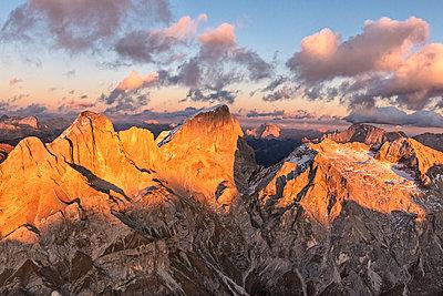 Aerial view of Marmolada, Gran Vernel, Sasso Vernale and Cima Ombretta, Dolomites, Trentino-Alto Adige, Italy, Europe - p871m1533920 by Roberto Moiola