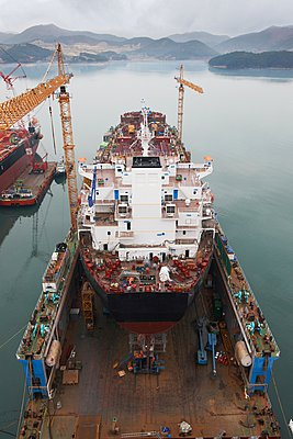 Ships at port, GoSeong-gun, South Korea - p429m1024273f by Adie Bush