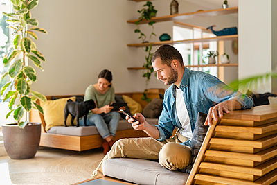 Man using smart phone while girlfriend playing with Pug dog in background at home - p300m2268102 by Steve Brookland