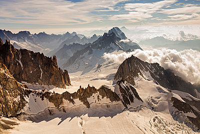 The crests of Mount Blanc in aerial photography. Courmayer, Aosta valley, Italy - p651m2006603 by ClickAlps
