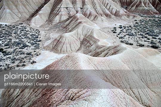 Desert of the Bardenas Reales in Navarra - p1166m2200341 by Cavan Images