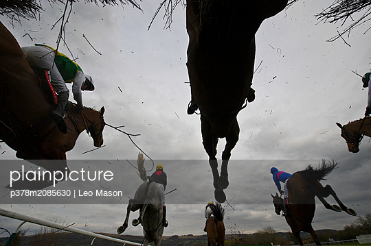 jumping fence - p378m2085630 by Leo Mason