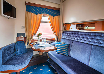 Trans Siberian Railway Express Train Interior - p390m2013440 by Frank Herfort