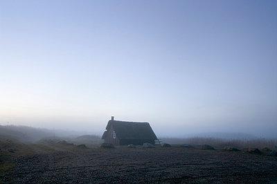 House in fog - p992m791626 by Carmen Spitznagel