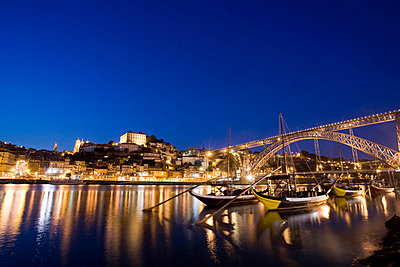 Porto and river Douro at dusk - p4296047 by Alex Holland