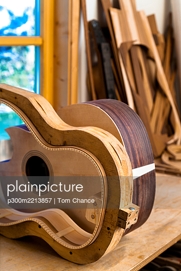 Workshop of a guitar maker - p300m2213857 by Tom Chance