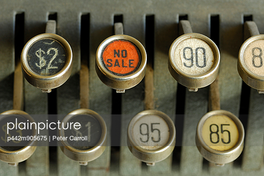 Antique Cash Register Keys Depicting No Sale And Various Dollar Amounts - p442m905675 by Peter Carroll