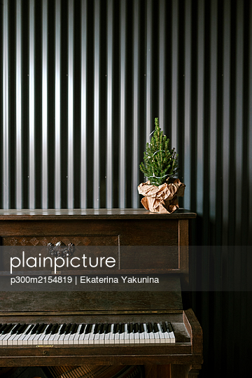 Christmas tree on the piano - p300m2154819 by Ekaterina Yakunina