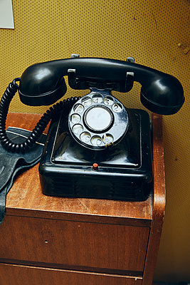 Old black telephone - p1540m2259026 by Marie Tercafs