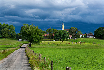 View of Hohenschaftlarn village and church - p300m797988f by Tom Chance