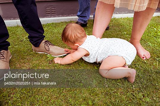 Baby krabbelt auf Rasen - p432m2020251 von mia takahara