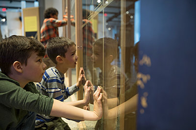 Curious boys watching exhibit display in science center - p1192m1194217 by Hero Images