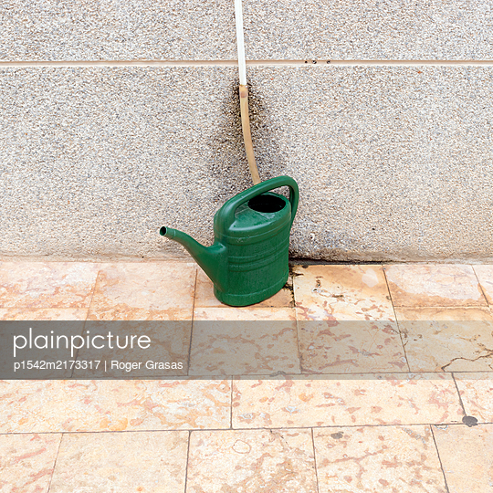 Green watering can - p1542m2173317 by Roger Grasas