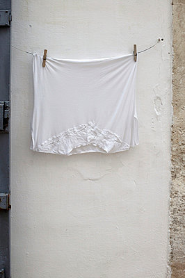White shirt hanging on line - p3881995 by L.B.Jeffries