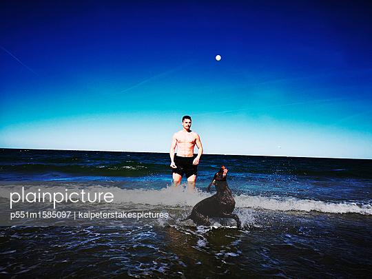 Mann und Hund spielen am Meer - p551m1585097 von Kai Peters