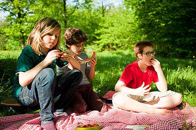 Drei Jungen beim Picknick im Park - p1195m1138130 von Kathrin Brunnhofer