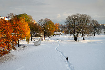 Person walking through winter park - p312m1229302 by Peter Lyden