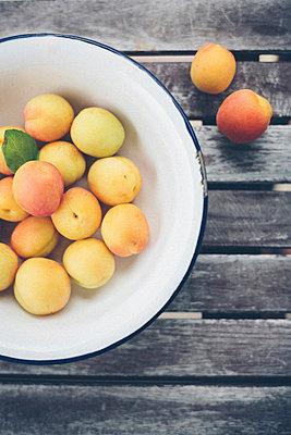 Aprikosen in einer Emailleschüssel - p946m823751 von Maren Becker