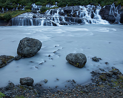 Iceland, Suournes, Hraunfossar waterfall - p352m1349375 by Gustaf Emanuelsson