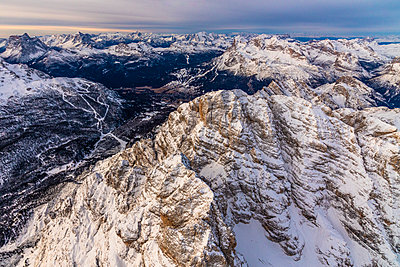 Aerial view of Monte Cristallo, Ampezzo Dolomites, Veneto, Italy - p1166m2104680 by Cavan Images