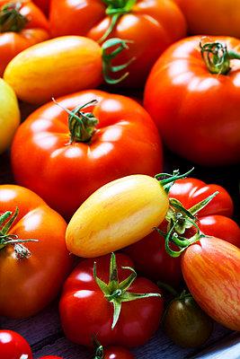 Various sorts of tomatoes, close-up - p300m2078999 von Dieter Heinemann
