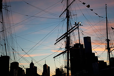 Rigging and mast of a ship at sunset - p30119686f by Tobias Titz