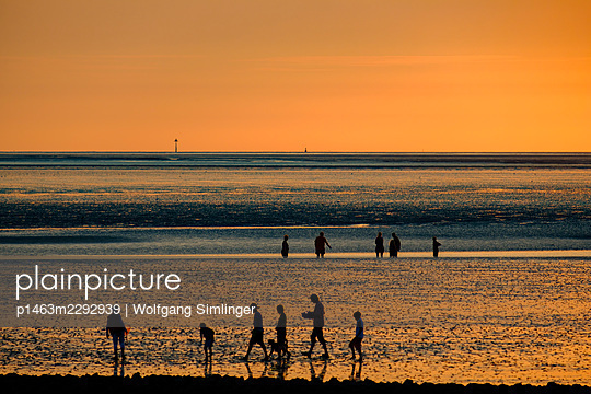 Walkers at sunset, Wadden Sea - p1463m2292939 by Wolfgang Simlinger