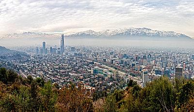 View of Santiago from San Cristobal Hill (Cerro San Cristobal), Santaigo, Chile - p871m2101257 by Antonio Busiello