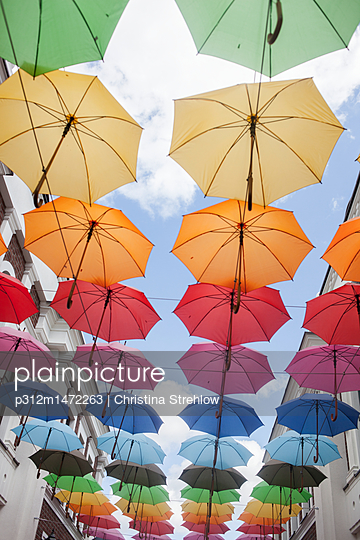 Colorful umbrellas - p312m1472263 by Christina Strehlow